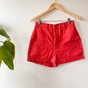 Vintage Super High Waisted Red Mom Shorts